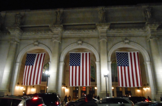 Union Station at night.