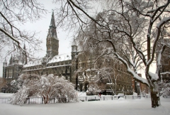 Georgetown University in the snow