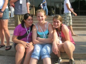 Sitting on the steps of the Air & Space Museum back in 7th grade! Don't neglect to notice the name tags around our necks!