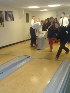 Drake University students enjoy their time at the Truman Bowling Alley!