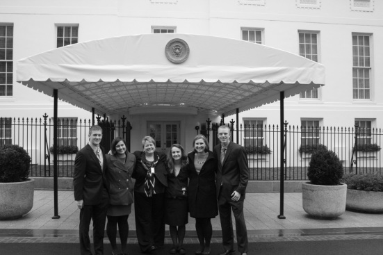 Our group standing outside the entrance to the West Wing.