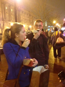 Julianne Klampe and Lucas Baker enjoy the first bites of their cupcakes
