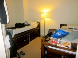 A typical bedroom for Drake students at the Washington Center.