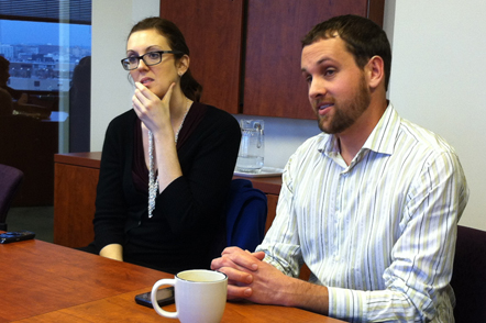 Liz and Mark explained the world of non-profit work to some Drake students.
