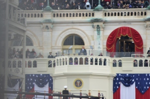 President Obama speaking during his inaugural address