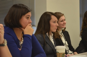 Drake students are enthralled with the speech from Stephen Hess.
