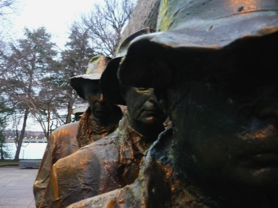 The faces of the statues show the despair of the Great Depression