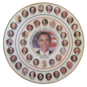 One of the less practical items at the gift shop--a gold rimmed collector's plate of all 44 U.S. presidents.Photo courtesy of http://www.whitehousegiftshop.com