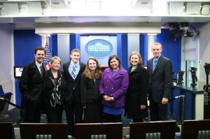 One of the few photos we came away with after touring the Press Room at the West Wing.From Left: Zach Nunn, Professor Rachel Paine Caufield, Zachary Keller, Jill Applegate, Kelly Tafoya, Katherine Fritcke, Guy Eckman