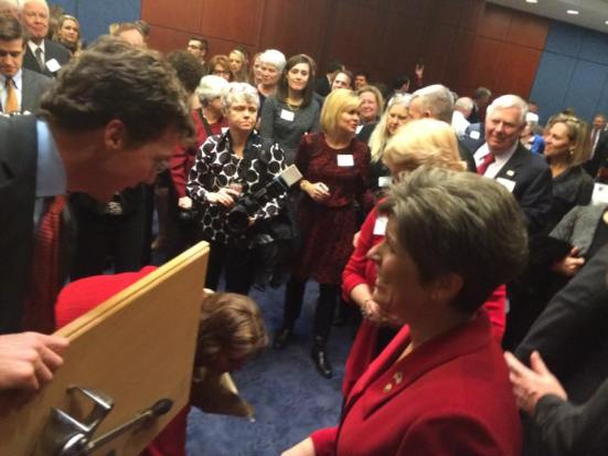 Senator Joni Ernst Presented With A Gift In Memory Of Her Infamous Campaign Photo By Joey Gale
