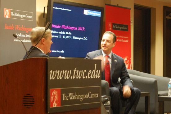 Reince Priebus, RNC chairman, joins the seminar this morning. Photo by Jill VanWyke