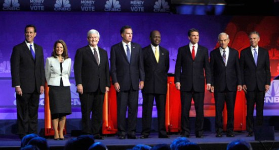 The 2012 Republican Candidates after a debate. Photo courtesy of Politico