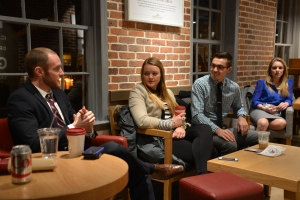 Evan Jurkovich, a House Ag Committee staffer, met with us late Friday. Photo by Jill Van Wyke.