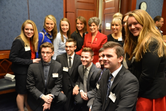 Drake University Students Take A Picture With The First Women Sent To Congress From Iowa,, Joni Ernst Photo By Jill VanWyke