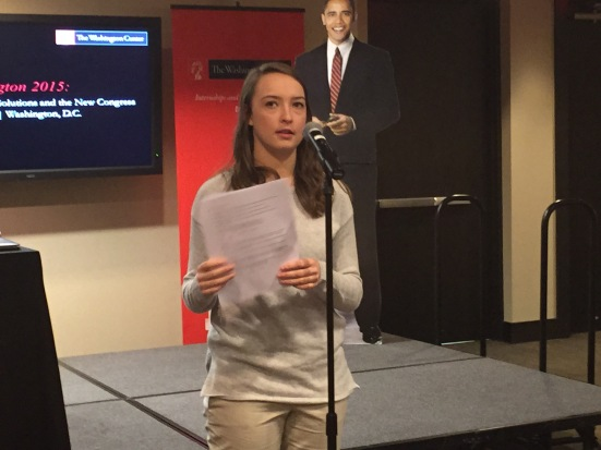 Kylie Jacobsen (Rep. Kevin Yoder) presents our resolution. Photo by Jill VanWyke