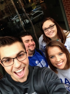 A group of students on our scavenger hunt Sunday. Left to right: Kevin Maisto, Manny Jacobson, Taylor Larson, and Katie Allen.
