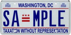Sample Washington D.C. license plate. photo courtesy of talkingpointsmemo.com