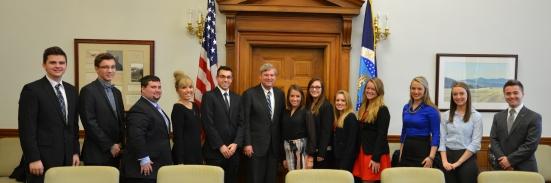 Secretary Vilsack poses with Drake students. Photo by Jill Van Wyke