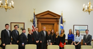 Drake University Students with Secretary of Agriculture Tom Vilsack, Photo by Jill VanWyke