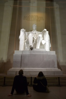Sarah and Josh at the Lincoln Memorial at night. Photo by Grace Dunn.