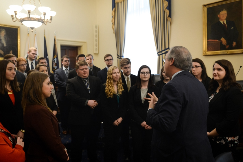 Speaking to Congressman David Young before he had to run over to the floor of the House!  Photo credit: Jack Hellie